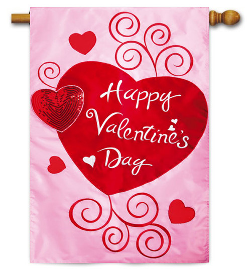 "Scroll Hearts Applique Valentine House Flag - 28"" x 44"" - 2 Sided Message"