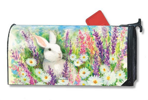White Bunny Magnetic Mailbox Cover