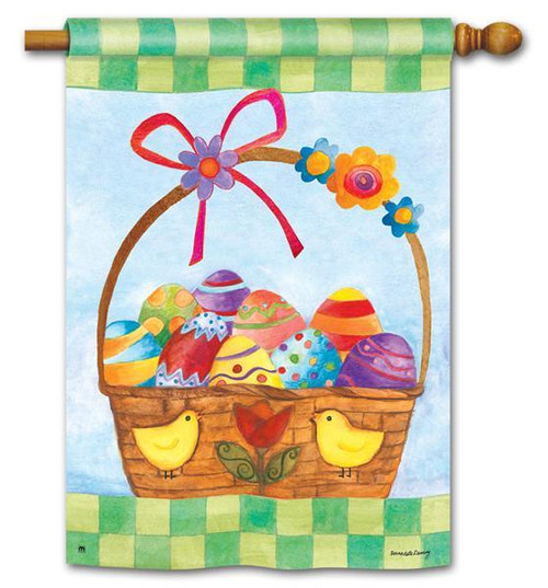 "Basket for the Bunny Easter House Flag 28"" x 40"""