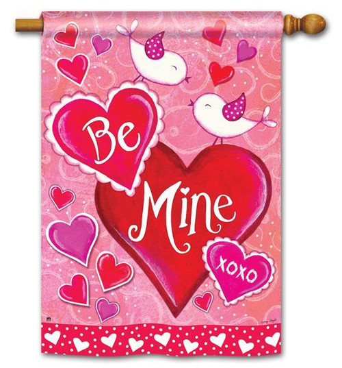 "Be Mine Birds Valentine House Flag 28"" x 40"""
