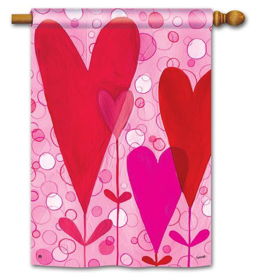 "Heart Flowers Valentine House Flag 28"" x 40"""