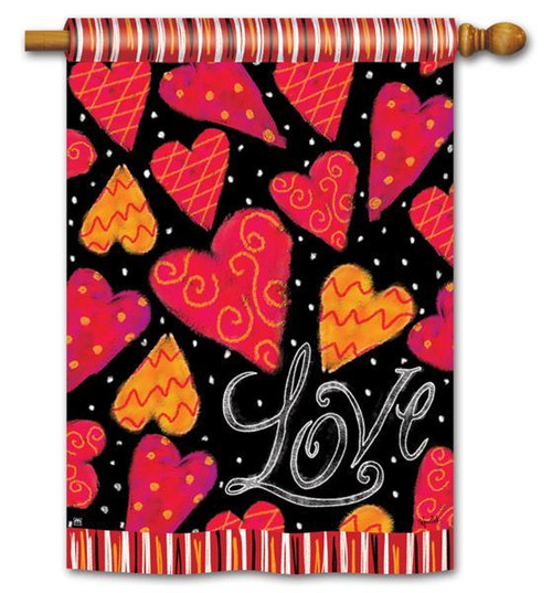 "Love Hearts Valentine House Flag 28"" x 40"""