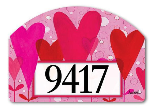 Heart Flowers Yard Design Address Sign