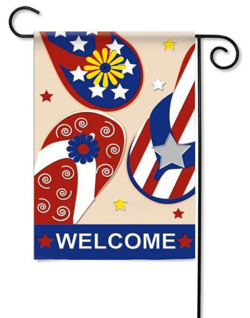 "Applique Patriotic Flip Flop Garden Flag - 12.5"" x 18"" - 2 Sided Message"