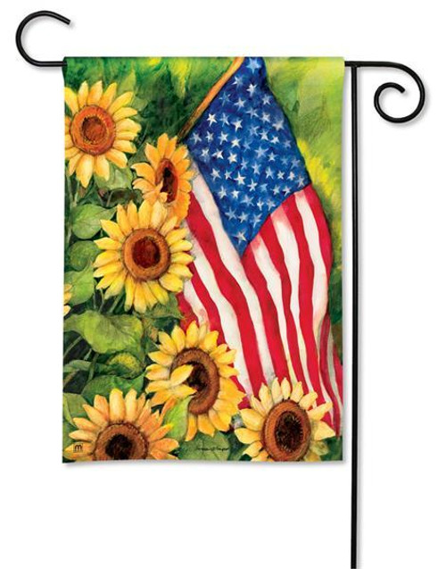 "American Sunflowers Patriotic Garden Flag - 12.5"" x 18"""