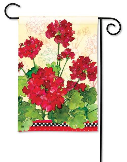 "Geraniums and Checks Garden Flag - 12.5"" x 18"""