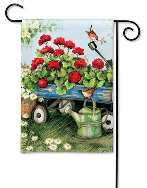 """Geraniums by the Dozen Garden Flag - 12.5"""" x 18"""""""