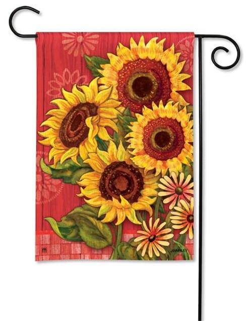 """Red Barn Sunflowers Garden Flag - 12.5"""" x 18"""""""