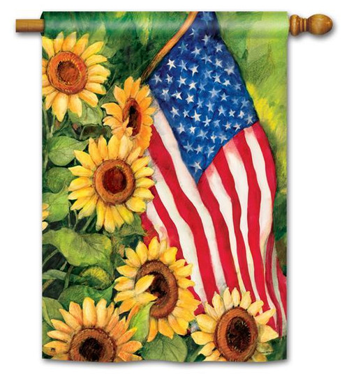 "American Sunflowers Patriotic House Flag - 28"" x 40"""