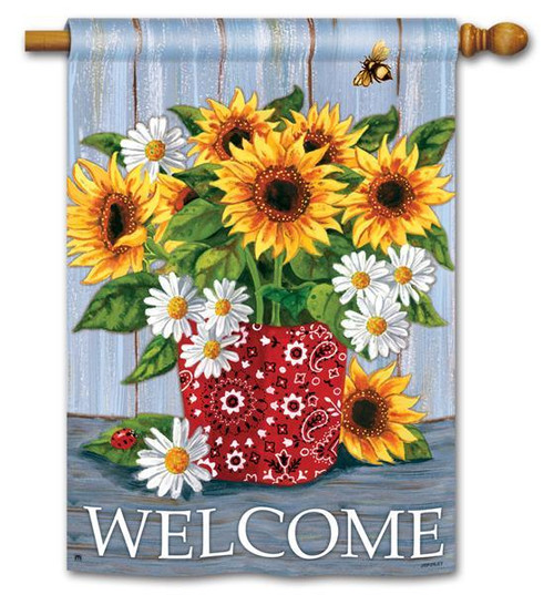 "Bandana Sunflowers House Flag - 28"" x 40"" - 2 Sided Message"