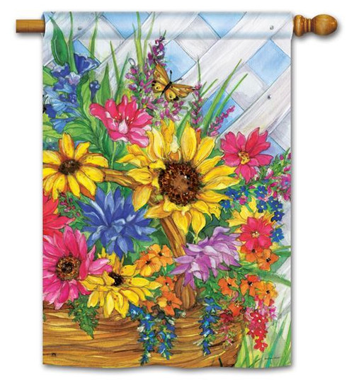 "Blooming Basket House Flag - 28"" x 40"""