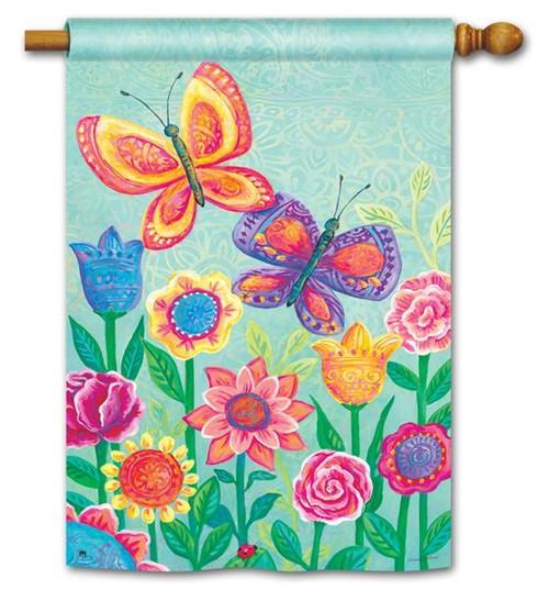 """Butterfly Garden House Flag - 28"""" x 40"""""""