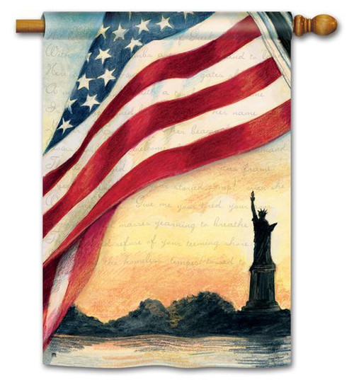 "Liberty at Sunset Patriotic House Flag - 28"" x 40"""