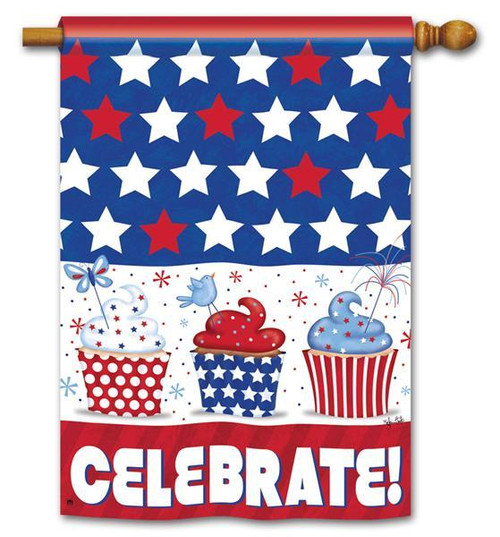 "Patriotic Cupcakes Patriotic House Flag - 28"" x 40"" - 2 Sided Message"