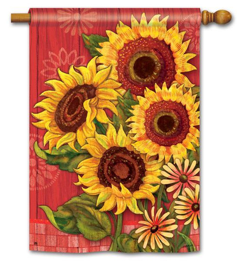 "Red Barn Sunflowers House Flag - 28"" x 40"""