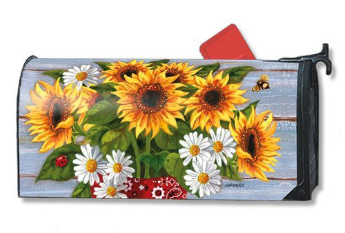Bandana Sunflowers Magnetic Mailbox Cover