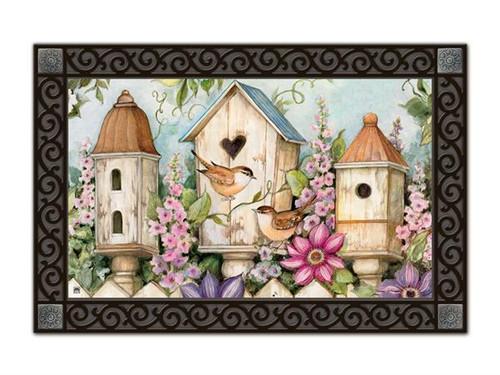 "Cottage Birdhouse MatMates Doormat - 18"" x 30"""