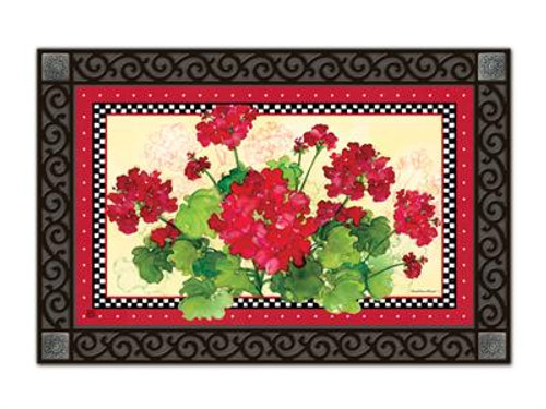 "Geraniums and Checks MatMates Doormat - 18"" x 30"""