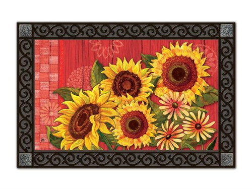 "Red Barn Sunflowers MatMates Doormat - 18"" x 30"""