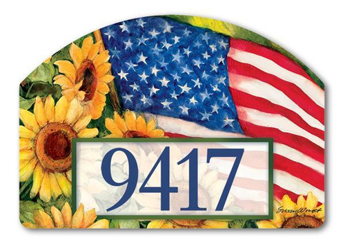 American Sunflowers Yard Design Address Sign