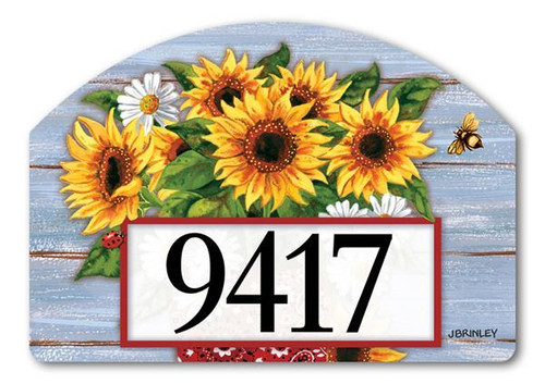 "Bandana Sunflowers Yard Design Address Sign - 14"" x 10"""