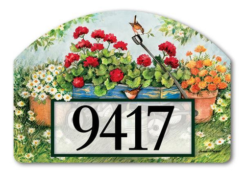 Geraniums by the Dozen Yard Design Address Sign
