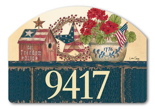 Old Glory Yard Design Address Sign