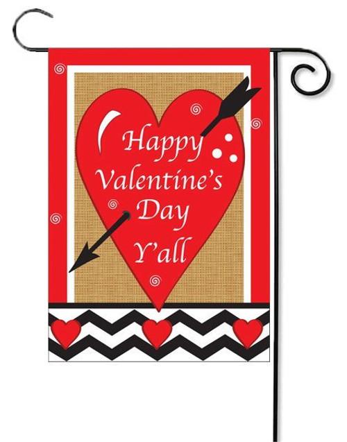 "Happy Valentine's Day Y'all Deluxe Applique Garden Flag - 13"" x 18"""