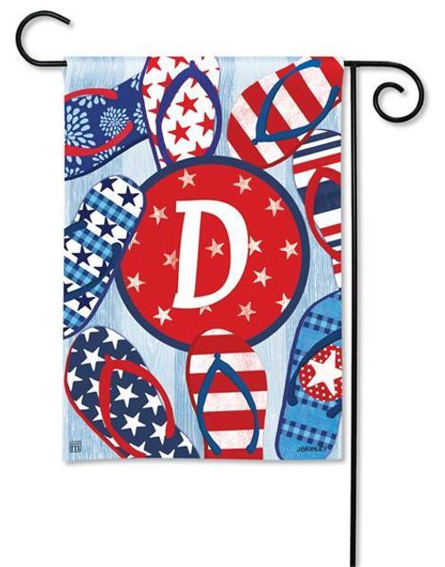 """Freedom Flip Flops  Monogram Garden Flag Letter D - 12.5"""" x 18"""""""