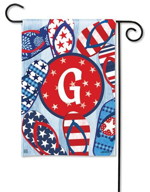 """Freedom Flip Flops  Monogram Garden Flag Letter G - 12.5"""" x 18"""""""