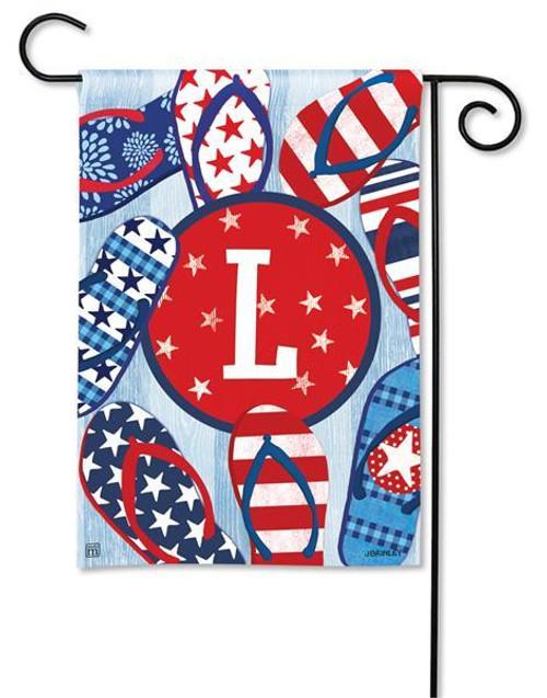 """Freedom Flip Flops  Monogram Garden Flag Letter L - 12.5"""" x 18"""""""