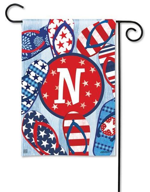 """Freedom Flip Flops  Monogram Garden Flag Letter N - 12.5"""" x 18"""""""