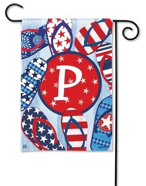 """Freedom Flip Flops  Monogram Garden Flag Letter P - 12.5"""" x 18"""""""