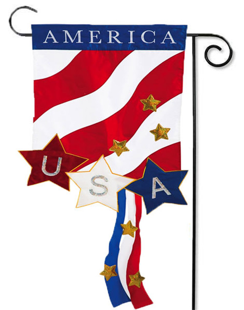 Patriotic America Deluxe Applique Garden Flag - 2 Sided Message
