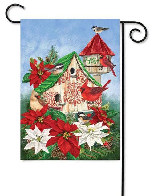 "Christmas Birdhouse Winter Garden Flag - 12"" x 18"" - Custom Decor"