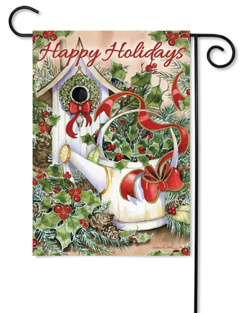 "Holiday Birdhouse Garden Flag - 12"" x 18"" - 2 Sided Message"