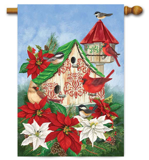 "Christmas Birdhouse Winter House Flag - 28"" x 40 - Custom Decor"