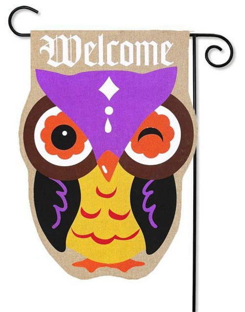 """Autumn Owl Burlap Garden Flag - 12.5"""" x 18"""""""