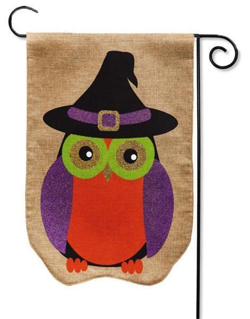 "Glitter Owl Burlap Garden Flag - 12.5"" x 18"" - Evergreen"