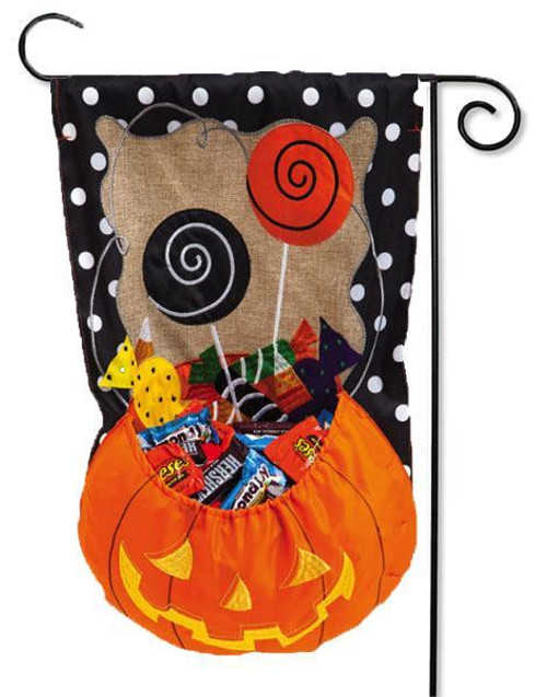 "Halloween Candy Treat Burlap Garden Flag - 12.5"" x 18"""