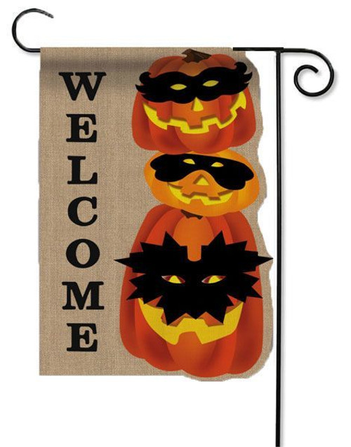"Jack-O-Lantern Gathering Burlap Garden Flag - 12.5"" x 18"" - 2 Sided Message"