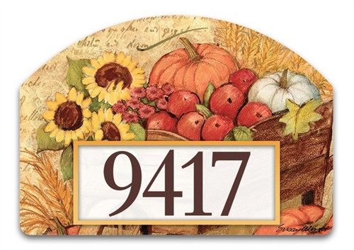 "Autumn Cart Yard DeSign Address Sign - 14"" x 10"""