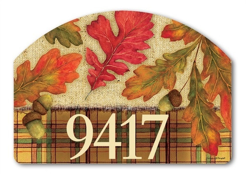 "Burlap Leaves Yard DeSign Address Sign - 14"" 10"""