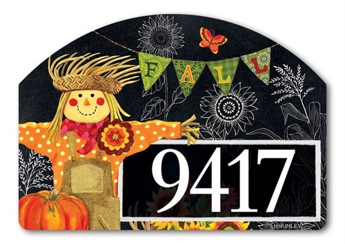 "Burlap Scarecrow Yard DeSign Address Sign - 14"" x 10"""
