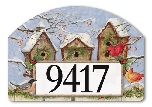 "Wintery Birdhouse Yard DeSign Address Sign - 14"" x 10"""