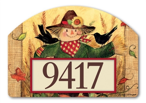 "Give Thanks Scarecrow Yard DeSign Address Sign - 14"" x 10"""