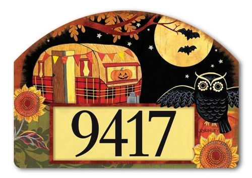 "Halloween Camper Yard DeSign Address Sign - 14"" x 10"""