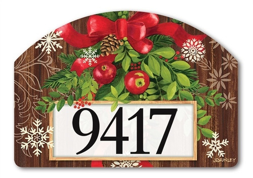 "Mountain Cabin Sled Yard DeSign Address Sign - 14"" x 10"""
