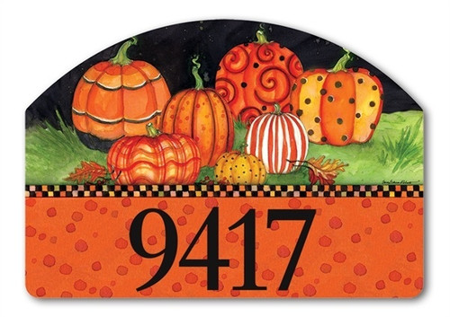 "Painted Pumpkins Yard DeSign Address Sign - 14"" x 10"""