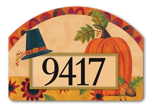 "Pilgrim Pumpkin Yard DeSign Address Sign - 14"" x 10"""
